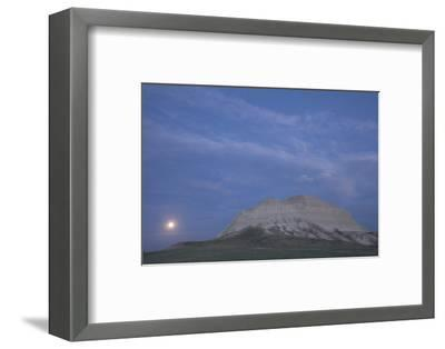 A Butte and the Full Moon in the Oglala National Grassland-Phil Schermeister-Framed Photographic Print