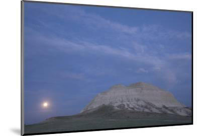 A Butte and the Full Moon in the Oglala National Grassland-Phil Schermeister-Mounted Photographic Print