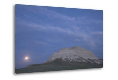 A Butte and the Full Moon in the Oglala National Grassland-Phil Schermeister-Metal Print