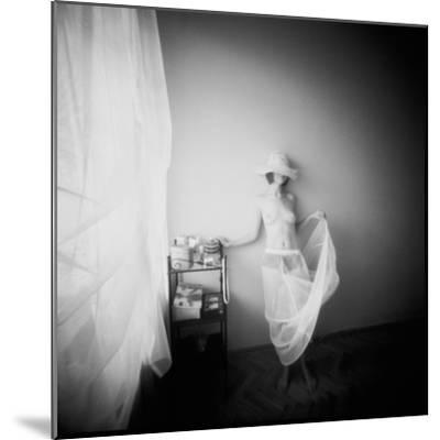 Pinhole Camera Shot of Standing Topless Woman in Hoop Skirt-Rafal Bednarz-Mounted Photographic Print