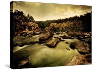 Water Flowing through Rocky Riverbed-Jan Lakey-Stretched Canvas Print