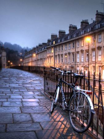 Night Winter Street Scene in Bath, Somerset, England-Tim Kahane-Photographic Print