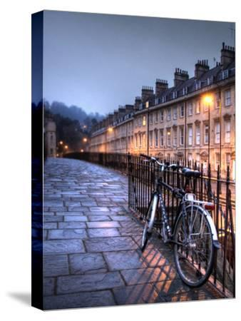 Night Winter Street Scene in Bath, Somerset, England-Tim Kahane-Stretched Canvas Print