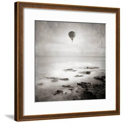 A Hot Air Balloon Floating Above the Sea-Luis Beltran-Framed Photographic Print