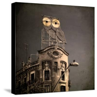An Owl on a Roof in the City-Luis Beltran-Stretched Canvas Print