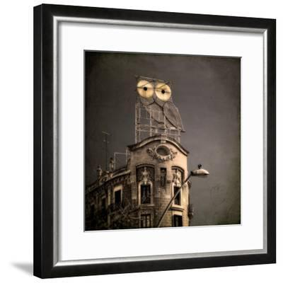An Owl on a Roof in the City-Luis Beltran-Framed Premium Photographic Print
