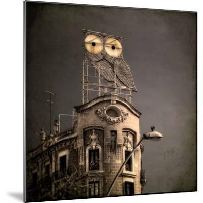 An Owl on a Roof in the City-Luis Beltran-Mounted Premium Photographic Print