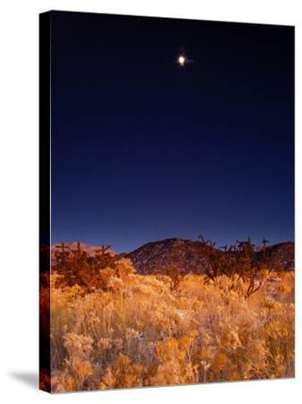 Sandia Mountains Desert Twilight Landscape Moon Rise, New Mexico-Kevin Lange-Stretched Canvas Print