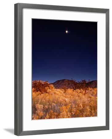 Sandia Mountains Desert Twilight Landscape Moon Rise, New Mexico-Kevin Lange-Framed Photographic Print
