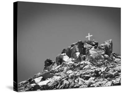 Cross on Top of Sandia Mountain Boulder Mound Landscape in Black and White, New Mexico-Kevin Lange-Stretched Canvas Print