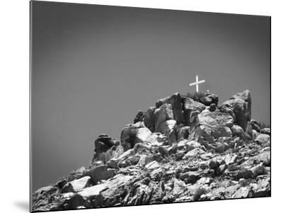 Cross on Top of Sandia Mountain Boulder Mound Landscape in Black and White, New Mexico-Kevin Lange-Mounted Photographic Print