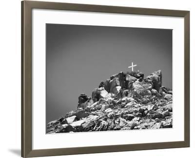 Cross on Top of Sandia Mountain Boulder Mound Landscape in Black and White, New Mexico-Kevin Lange-Framed Photographic Print
