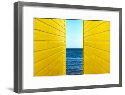 2 Yellow Beach Huts-Andy Bell-Framed Photographic Print