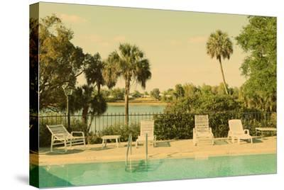 Retro Summer Swimming Pool with Empty Lounge Chairs-Jena Ardell-Stretched Canvas Print