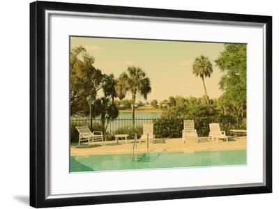 Retro Summer Swimming Pool with Empty Lounge Chairs-Jena Ardell-Framed Photographic Print