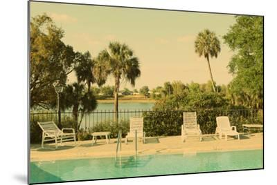Retro Summer Swimming Pool with Empty Lounge Chairs-Jena Ardell-Mounted Photographic Print