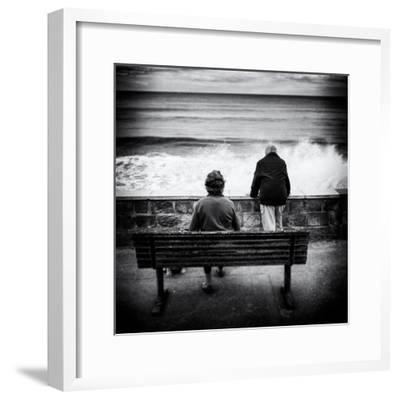 Elderly Couple Watch the Waves-Rory Garforth-Framed Photographic Print