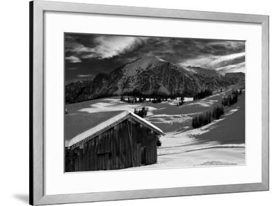 Monochrome Image of an Alpine Mountain Cabin in a Winter Landsca  Photographic Print by Sabine Jacobs   Art com