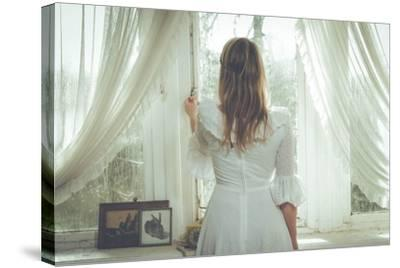 Young Woman Wearing White Dress-Sabine Rosch-Stretched Canvas Print
