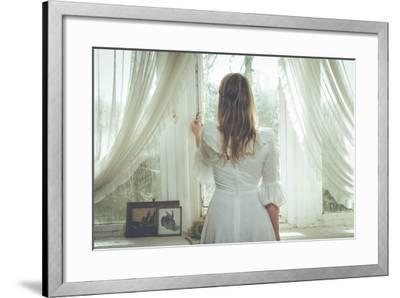 Young Woman Wearing White Dress-Sabine Rosch-Framed Photographic Print
