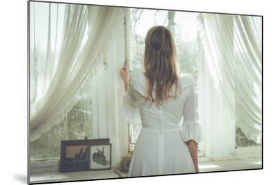 Young Woman Wearing White Dress-Sabine Rosch-Mounted Photographic Print
