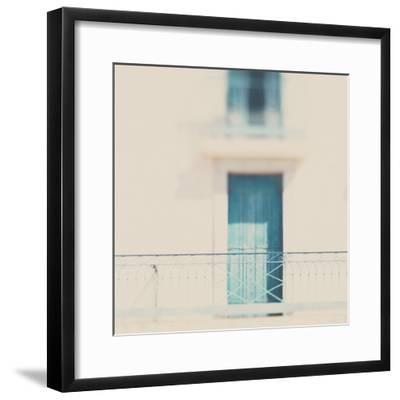 French Building with Balcony and Blue Door-Laura Evans-Framed Photographic Print