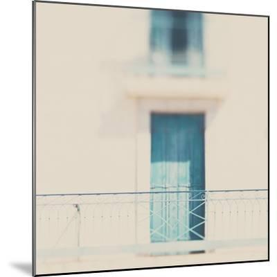 French Building with Balcony and Blue Door-Laura Evans-Mounted Photographic Print