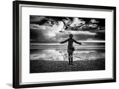 Young Girl Standing on a Beach-Rory Garforth-Framed Photographic Print