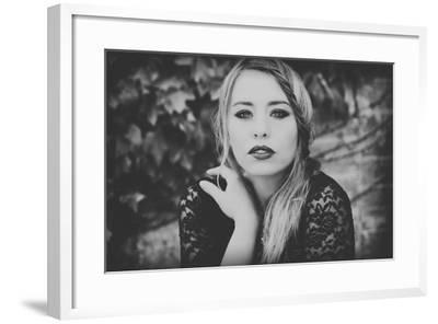 Young Woman Wearing a Black Dress-Sabine Rosch-Framed Photographic Print