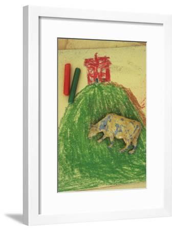 Childs Drawing-Den Reader-Framed Premium Photographic Print