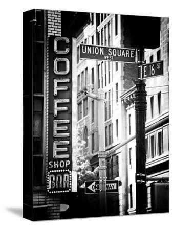 Coffee Shop Bar Sign, Union Square, Manhattan, New York, US, Old Black and White Photography-Philippe Hugonnard-Stretched Canvas Print