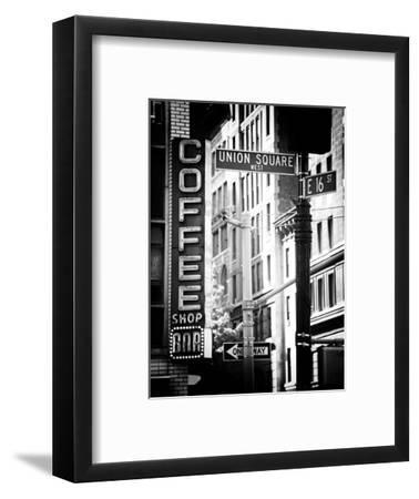 Coffee Shop Bar Sign, Union Square, Manhattan, New York, US, Old Black and White Photography-Philippe Hugonnard-Framed Photographic Print