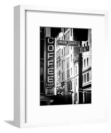 Coffee Shop Bar Sign, Union Square, Manhattan, New York, US, Old Black and White Photography-Philippe Hugonnard-Framed Premium Photographic Print