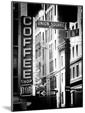Coffee Shop Bar Sign, Union Square, Manhattan, New York, US, Old Black and White Photography-Philippe Hugonnard-Mounted Premium Photographic Print