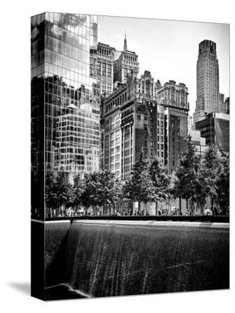 Architecture and Buildings, 9/11 Memorial, 1Wtc, Manhattan, NYC, USA, Black and White Photography-Philippe Hugonnard-Stretched Canvas Print