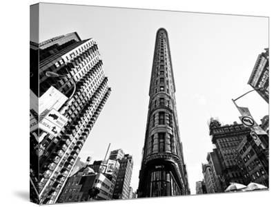 Flatiron Building, 5th Ave, Manhattan, New York, United States, Black and White Photography-Philippe Hugonnard-Stretched Canvas Print