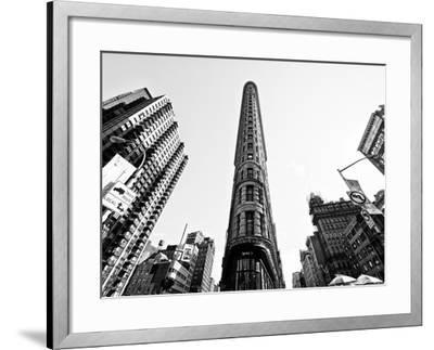 Flatiron Building, 5th Ave, Manhattan, New York, United States, Black and White Photography-Philippe Hugonnard-Framed Photographic Print