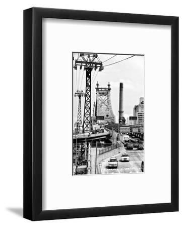 "Road Traffic on ""59th Street Bridge"" (Queensboro Bridge), Manhattan Downtown, NYC, White Frame-Philippe Hugonnard-Framed Photographic Print"