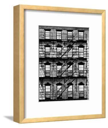 Building Facade in Red Brick, Stairway on Philadelphia Building, Pennsylvania, US-Philippe Hugonnard-Framed Photographic Print