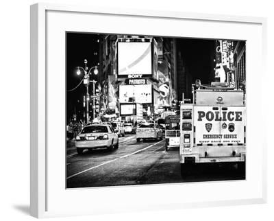 Yellow Cabs and Police Truck at Times Square by Night, Manhattan, New York-Philippe Hugonnard-Framed Photographic Print