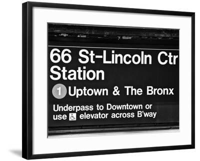 Subway Sign at Times Square, 66 Street Lincoln Station, Manhattan, NYCa-Philippe Hugonnard-Framed Photographic Print
