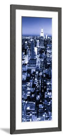 View of City, Vertical Panoramic Landscape View by Night, Midtown Manhattan, Manhattan, NYC-Philippe Hugonnard-Framed Photographic Print