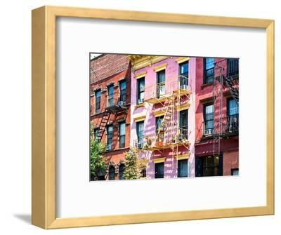 Colorful Buildings with Fire Escape, Williamsburg, Brooklyn, New York, United States-Philippe Hugonnard-Framed Photographic Print