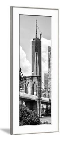 Vertical Panoramic View of Brooklyn Bridge View and One World Trade Center, Manhattan, NYC-Philippe Hugonnard-Framed Photographic Print