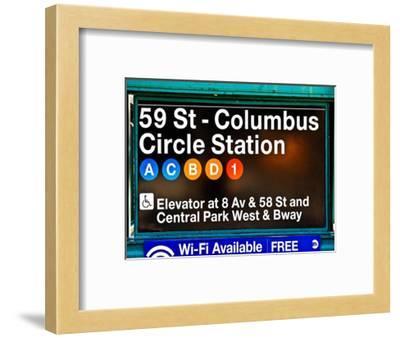 Subway Station Signs, 59 Street Columbus Circle Station, Manhattan, NYC, White Frame-Philippe Hugonnard-Framed Photographic Print