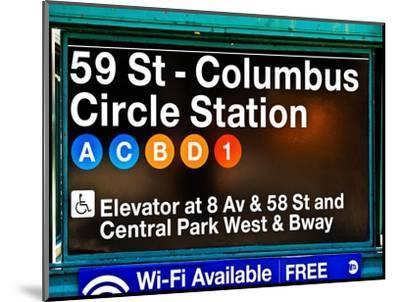 Subway Station Signs, 59 Street Columbus Circle Station, Manhattan, NYC, White Frame-Philippe Hugonnard-Mounted Photographic Print