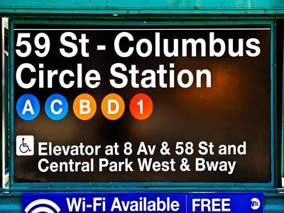 Subway Station Signs, 59 Street Columbus Circle Station, Manhattan, NYC, White Frame-Philippe Hugonnard-Stretched Canvas Print
