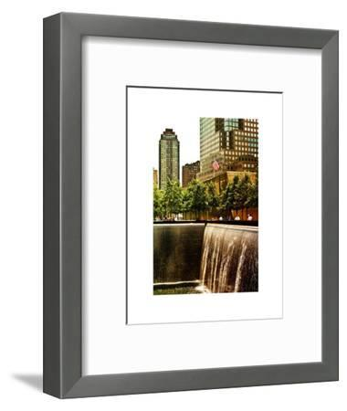 The Memorial Pool View at 9/11 Memorial, 1WTC, Manhattan, New York, White Frame, Sunset Colors-Philippe Hugonnard-Framed Photographic Print