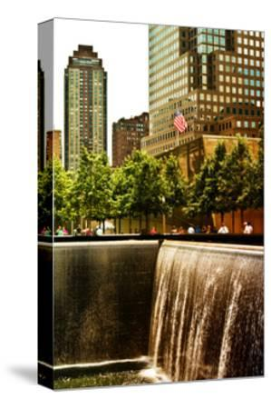 The Memorial Pool View at 9/11 Memorial, 1WTC, Manhattan, New York, White Frame, Sunset Colors-Philippe Hugonnard-Stretched Canvas Print