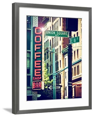 Coffee Shop Bar Sign, Union Square, Manhattan, New York, United States-Philippe Hugonnard-Framed Photographic Print